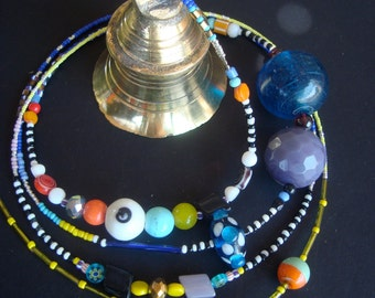 Glassbeaded colourful Indian Temple bell, meditation tool, Hinduism, spiritual, ringing sound, windchime, religion