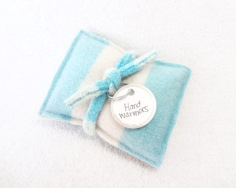 Handwarmers AQUA WHITE Cashmere Felted Wool Sweater Rice Bag Pocket Reusable Hand Warmers Teacher Coworker Gift Stocking Stuffer WormeWoole