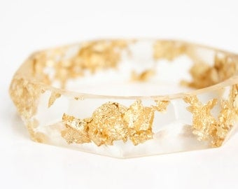 resin bangle | transparent with metallic gold leaf flakes