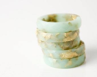 thin multifaceted eco resin ring | winter mint with metallic gold leaf | size 7