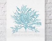 Sea Coral Wall Art Print in Pale Blue - Watercolor Sea Fan Illustration - Archival Fine Art Print - Sea Coral III in French Blue 8x10 Print