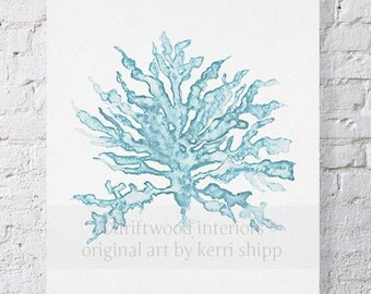 Sea Coral Wall Art Print in Pale Blue - Watercolor Giclee Art Print - Sea Life Wall Art - Sea Coral III in French Blue 11x14 Print