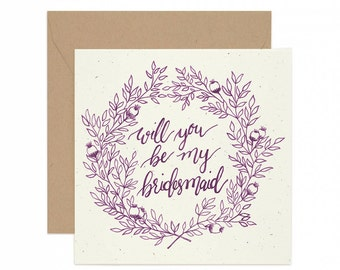 Square Wedding Be My Bridesmaid Greeting Card - Hand Illustrated - Purple and Kraft