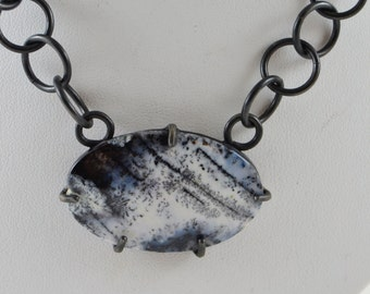 Dendritic Agate and Steel Necklace