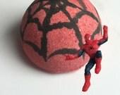 Surprise Bath Bomb with Action Figure Spider Man Inside! Spiderman Kids Party Idea - Bath Fizz - Lush Bath Bomb for Comic Marvel Hero Fans