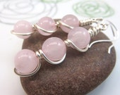 Rose quartz earrings -  wire wrapped gemstone earrings - pink earrings - wire wrap earrings - rose quartz jewelry sterling silver ear hooks