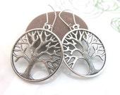 Large Tree of life earrings - silver tree charm earrings - tree charm dangles - round - kidney wires - new age - yoga earrings