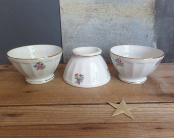 Vintage french set of 3 cafe au lait bowl embossed white china with patterns