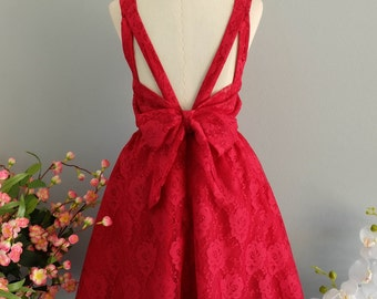 Party V Backless Dress Ruby Lace Dress Ruby Backless Dress Lace Prom Party Dress Red Lace Wedding Bridesmaid Dress Bow Dress XS-XL