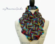 Women's Handmade Neckwarmer Scarf in Various Colors. Folklore Entrelac. Ready to Ship.