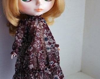 Long Dress, flower pattern one piece in brown for Blythe, Licca, 1/6 22cm doll