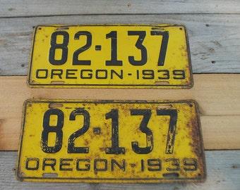 Vintage 1939 Oregon license plates- set of 2