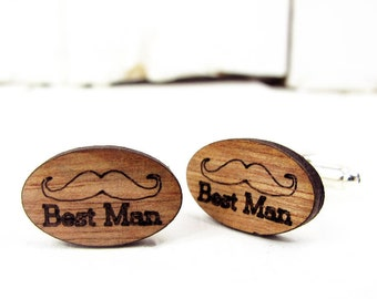 Engraved Moustache 'Best Man' Cufflinks