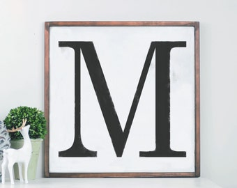 Monogram Wood Sign, Custom Letter, Capital Letter Wood Sign, Last Initial Wood Sign, Initial Framed Sign, Monogram, Monogram Decor, Letter