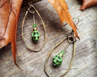 SKULL EARRINGS - Bronze Guitar String Earrings - HALLOWEEN Earrings - recycled/eco-friendly/upcycled jewelry - under 25.00