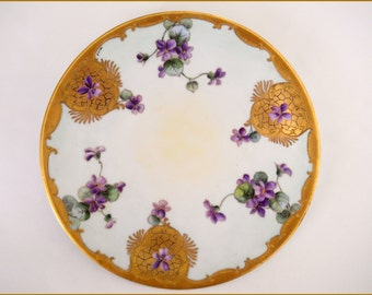 Antique Bavarian Porcelain Display/Wall ART NOUVEAU Plate- Hand Painted Violets -Signed Pfohl