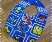 Super Mario Baby Bib, Recycled T-Shirt Baby Bib, Video Game, Baby Boy Gift Baby Shower