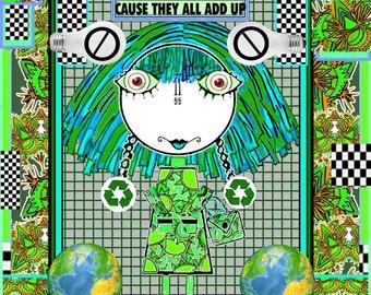 ANIME, Cartoon Girl, Big Eyed Girl, Going Green, Recycle Art, Little Girl Art, Colored Hair, Little Girl, Little Girl with Big Eyes