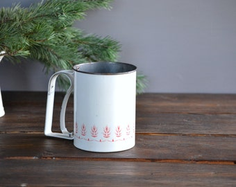Vintage Androck Flour Sifter with Red and Pink on White
