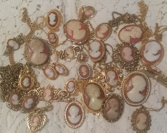 NICE Lot Over 25 Pieces of Faux Cameo Jewelry VINTAGE