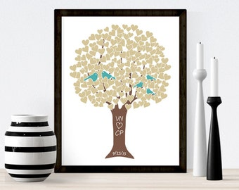 FRAMED CANVAS: Family Love Tree Love Birds Anniversary Present / Wedding Gift for Engagement Present Couples Gift for Parents Personalized