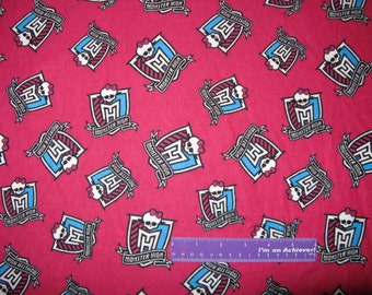 MONSTER HIGH Dolls Skull Bow Crest Toss Pink FLANNEL Fabric By The Half Yard