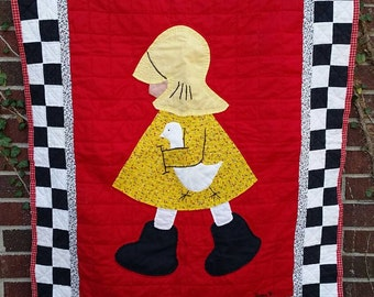 VINTAGE Quilt - Toddler - Raincoat, Boots, Goose - Red, Black, Yellow, White