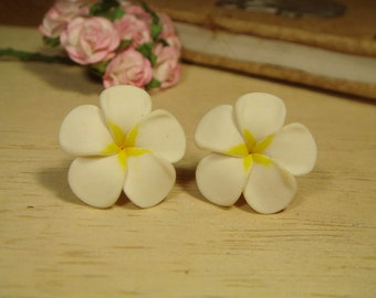 Sweet White Plus Yellow Plumeria Frangipani Stud/Post Earrings (E69)