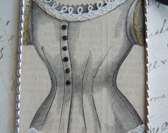 Fiona & The Fig  Victorian 1880 - Original Print-Harpers Bazaar Magazine -CORSET- Silver Soldered-Mini Sun Catcher - Door Knob Hanger 2x3
