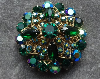 Beautiful Vintage Green and Blue Rhinestones, AB Green and AB Blue Rhinestone Brooch