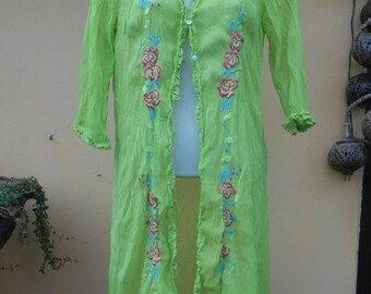 """20%OFF vintage inspired long mint chiffon shirt with embroidery ..xsmall to 34"""" chest.."""