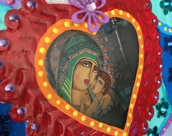 Mexican tin metal nicho shrine shadowbox/ sacred heart/ Mexican folk art / rainbow / wedding gift xmas gift/ heart with wings