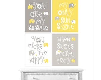 Baby Room Decor, Yellow Grey Nursery Decor, you are my sunshine, sunshine wall art, Boy Girl nursery wall art elephant, YassisPlace GSEB-002
