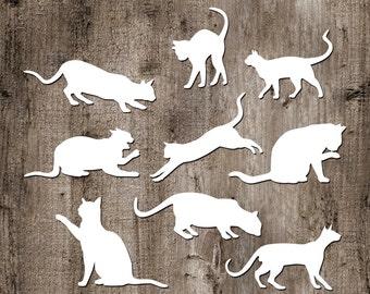 9 Cats Vinyl Sticker