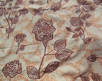Barkcloth Fabric Curtain, Earthtoned Brown & Peach Floral Design
