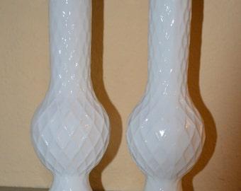 2 E. O. Brody Diamond Pattern Bud Vases