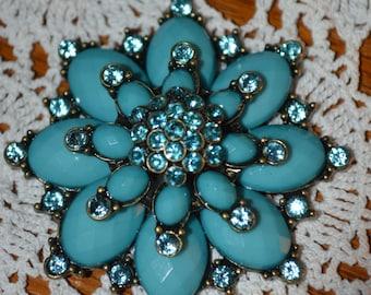 Costume Turquoise and Rhinestone Flower Pendant-Free Shipping