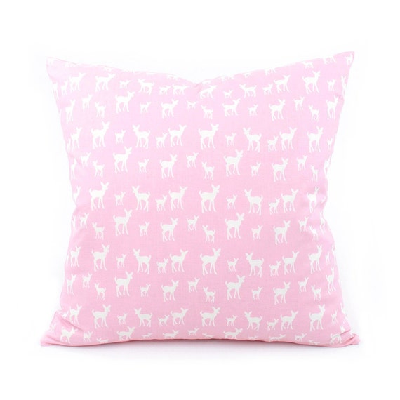 Pink Deer Pillow Cover 18x18 Pink Throw by ChloeandOliveDotCom