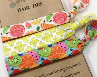 Hair Ties Tropical Fruit Yellow Pink Summer FOE Elastic Hair Ties pony tail holder Quatrefoil Yoga Band Orange Lemon Lime