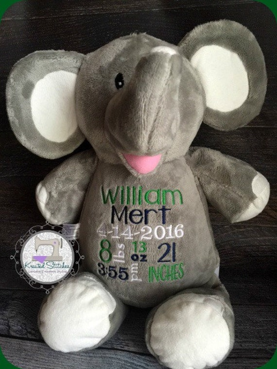 Monogrammed Birth Announcement Stuffed Elephant