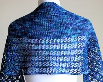 Knitted Shawl - crescent shape - blue/green lace