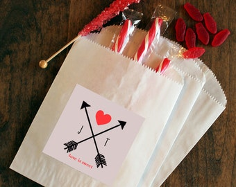 24 - Paper Wedding Favor Bags - Arrow Design - Bridal Shower Favor Bags // Candy Buffet Bags // Cookie Bags // Personalized Favor Bags