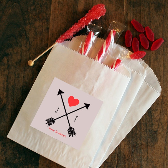 24 Paper Wedding Favor Bags Arrow Design Bridal By Thefavorbox