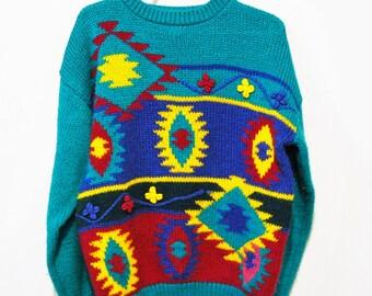 Vintage Sweater Aztec / Native / Urban Style