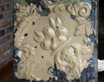 """Genuine Antique Ceiling Tile -- 12"""" x 12"""" -- Tan Colored Paint -- Beautiful Flower Design"""