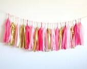 Gold, Blush, Cerise Tassel Garland . Birthday Party Decor . Nursery Decor . Gender Reveal Party . Baby Shower Decorations