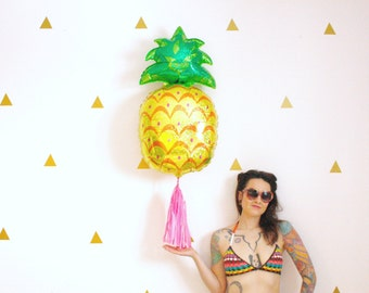 Pineapple Tassel Balloon, Tropical Beach Pineapple Party Decor, Photo Booth Prop, Pink and Gold Birthday
