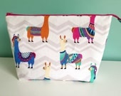 Hand Embroidered Embellished Zippered Flat Bottom Knitting Project Pouch Bag Tote Large Size