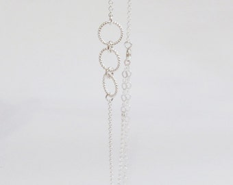 Eternal promise (anklet) - Three small and dainty twisted sterling silver rings