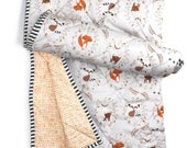 WOODLAND baby blanket- gender neutral bedding- woodland nursery bedding- fox deer baby blanket- gray crib comforter -baby shower gift